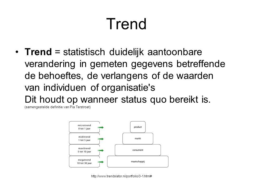 Trend Trend = statistisch duidelijk aantoonbare verandering in gemeten gegevens betreffende de behoeftes, de verlangens of de waarden van individuen of organisatie s Dit houdt op wanneer status quo bereikt is.