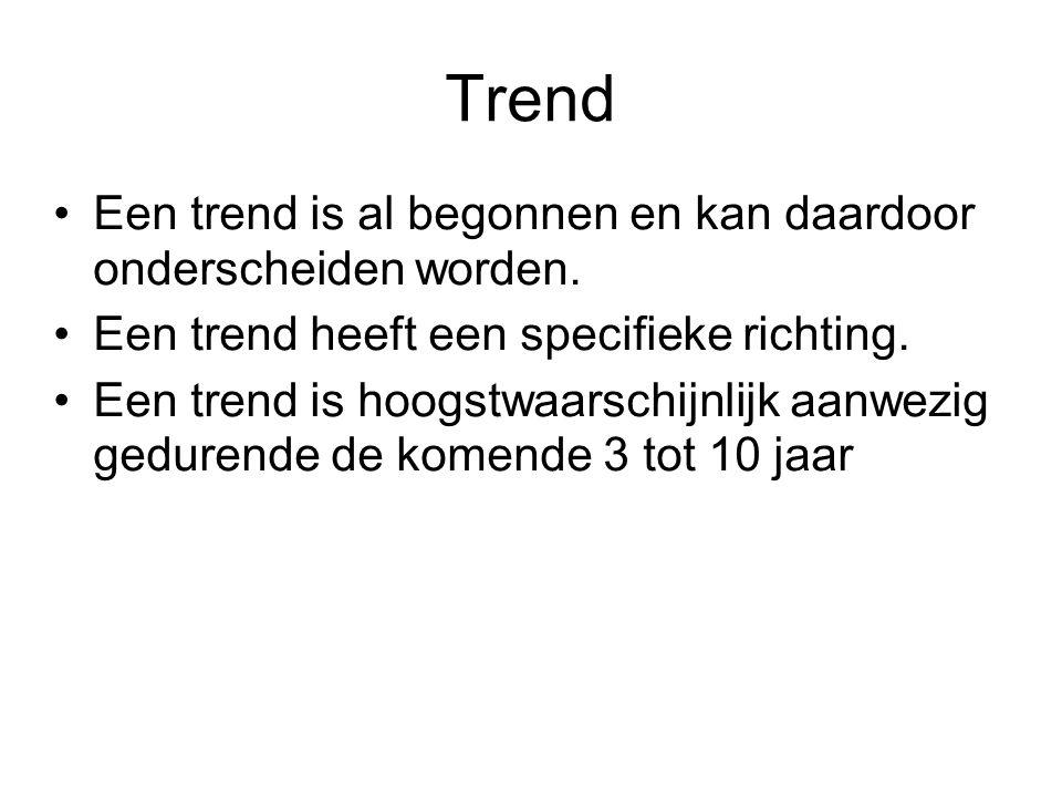 Trend Een trend is al begonnen en kan daardoor onderscheiden worden.