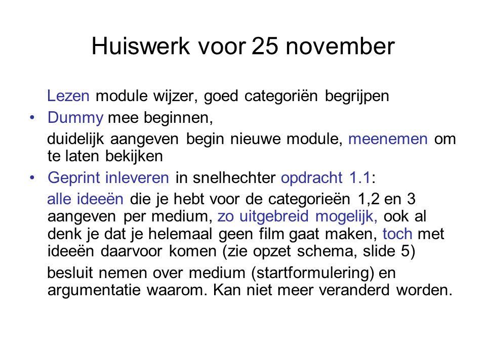Huiswerk voor 25 november Lezen module wijzer, goed categoriën begrijpen Dummy mee beginnen, duidelijk aangeven begin nieuwe module, meenemen om te la