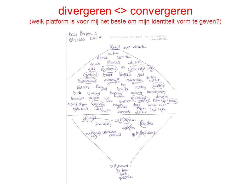 divergeren <> convergeren (welk platform is voor mij het beste om mijn identiteit vorm te geven?)