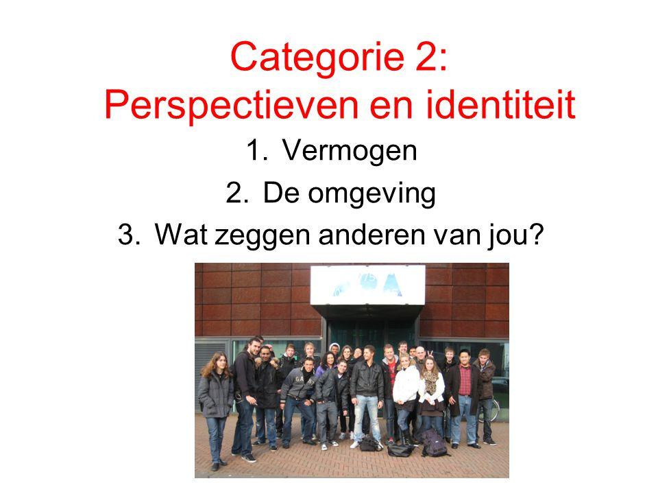 Categorie 2: Perspectieven en identiteit 1.Vermogen 2.De omgeving 3.Wat zeggen anderen van jou?