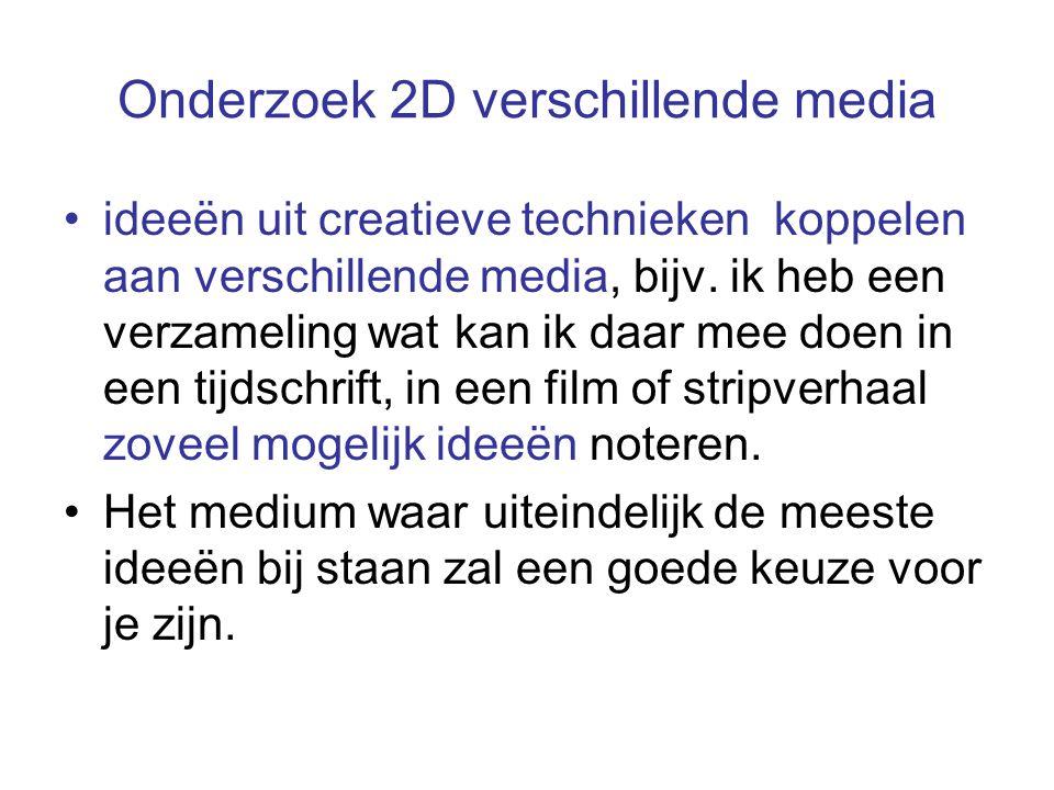 Onderzoek 2D verschillende media ideeën uit creatieve technieken koppelen aan verschillende media, bijv.