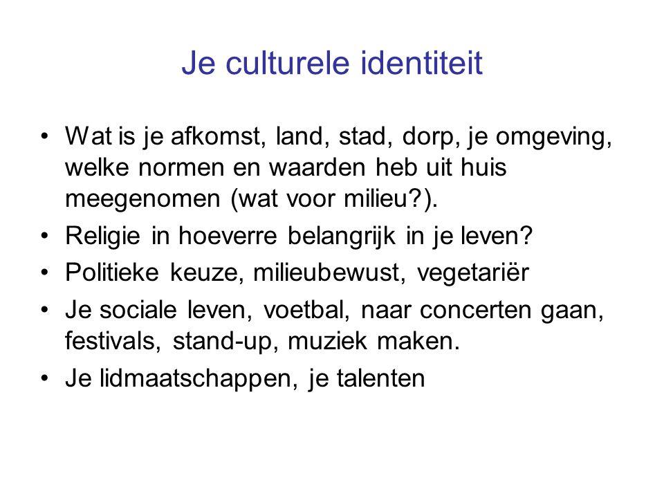 Je culturele identiteit Wat is je afkomst, land, stad, dorp, je omgeving, welke normen en waarden heb uit huis meegenomen (wat voor milieu ).
