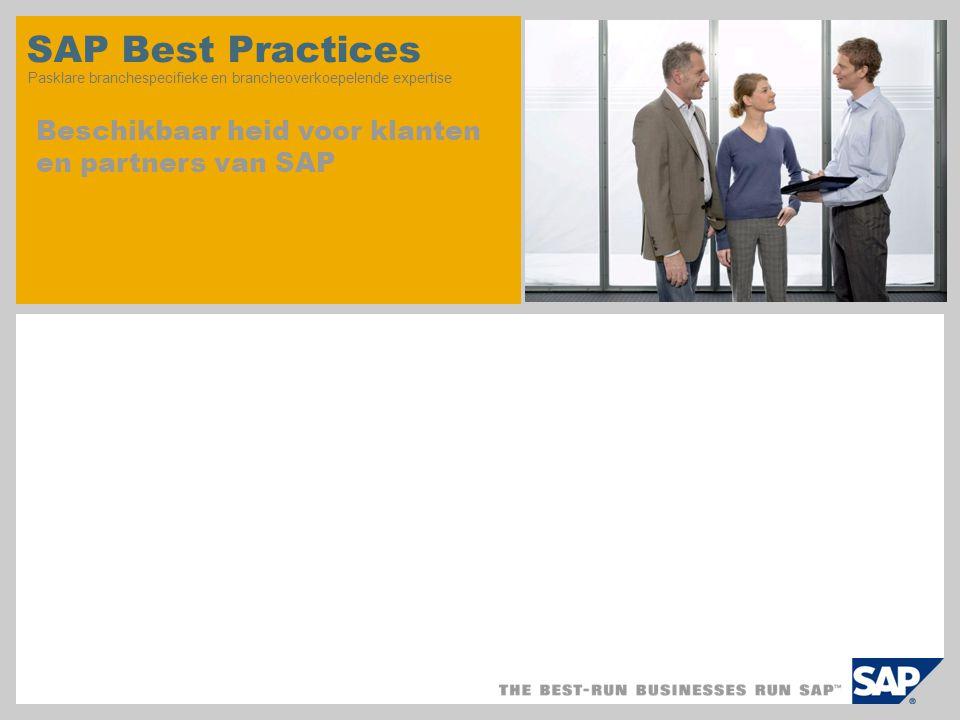SAP Best Practices Pasklare branchespecifieke en brancheoverkoepelende expertise Beschikbaar heid voor klanten en partners van SAP
