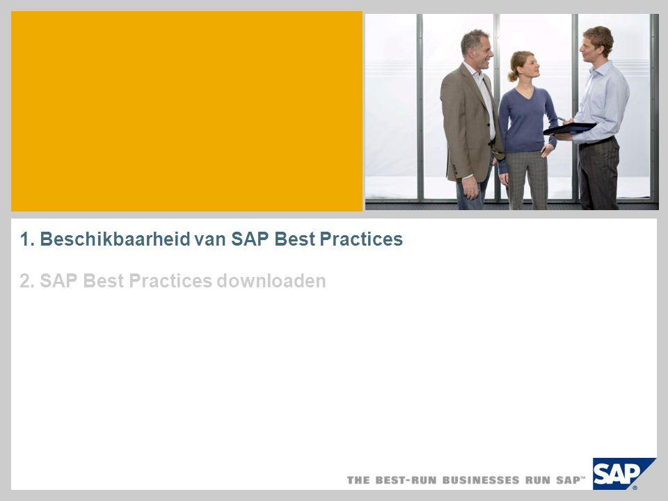 1. Beschikbaarheid van SAP Best Practices 2. SAP Best Practices downloaden