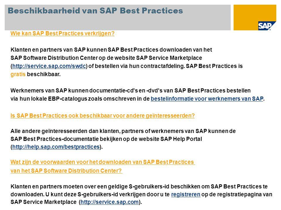 Beschikbaarheid van SAP Best Practices Wie kan SAP Best Practices verkrijgen.