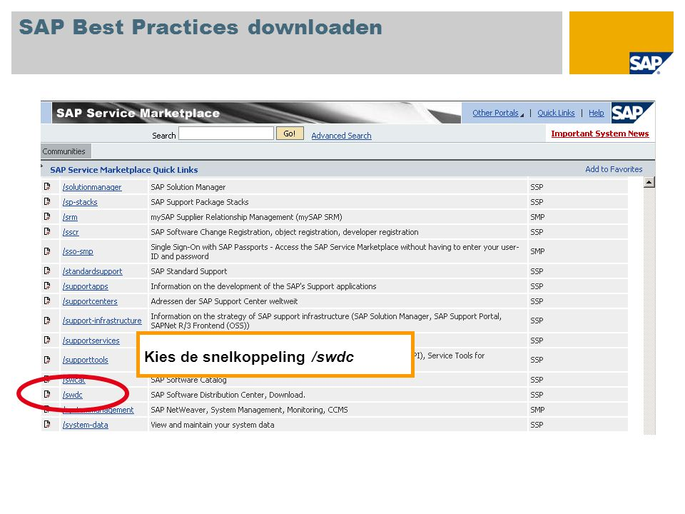 Kies de snelkoppeling /swdc SAP Best Practices downloaden