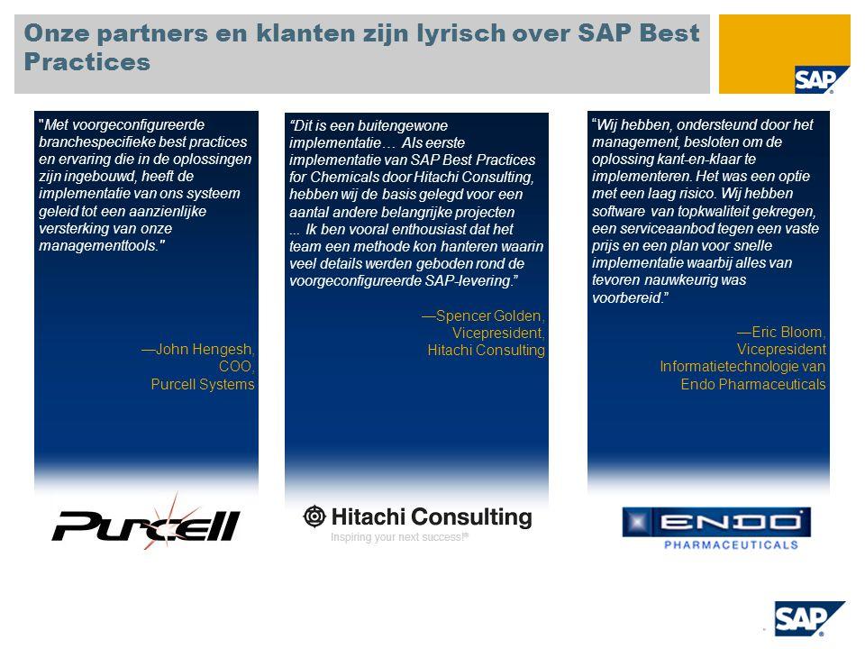Onze partners en klanten zijn lyrisch over SAP Best Practices Dit is een buitengewone implementatie… Als eerste implementatie van SAP Best Practices for Chemicals door Hitachi Consulting, hebben wij de basis gelegd voor een aantal andere belangrijke projecten...