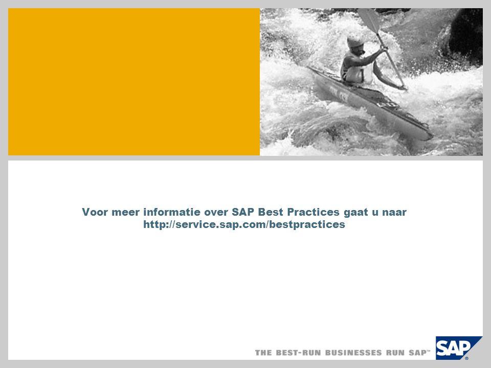 Voor meer informatie over SAP Best Practices gaat u naar http://service.sap.com/bestpractices