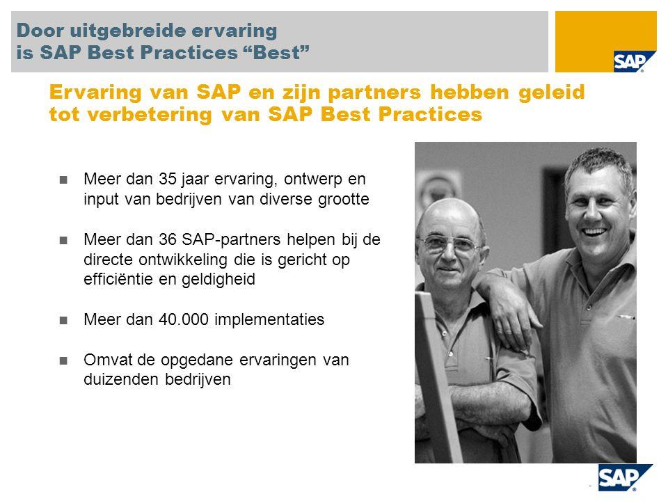 Prototype/conceptbewijs SAP-applicaties en -processen snel bekijken en begrijpen Referentiesysteem Eenvoudig blueprints en oplossingsomvangdefinities instellen en versnellen Beginpunt Voldoen aan gemiddeld 30% tot 80% van de behoeften van middelgrote bedrijven Indien nodig aanvullende behoeften toevoegen tijdens het project Microverticale SAP All-in-One Gebruik branchespecifieke aanbiedingen van SAP-partners en SAP Best Practices om te voldoen aan microverticale behoeften Uitrol bij dochtermaatschappijen Versnelde uitrol van SAP bij dochtermaatschappijen in andere regio's of branches SAP Best Practices worden gebruikt voor zeer uiteenlopende projecten