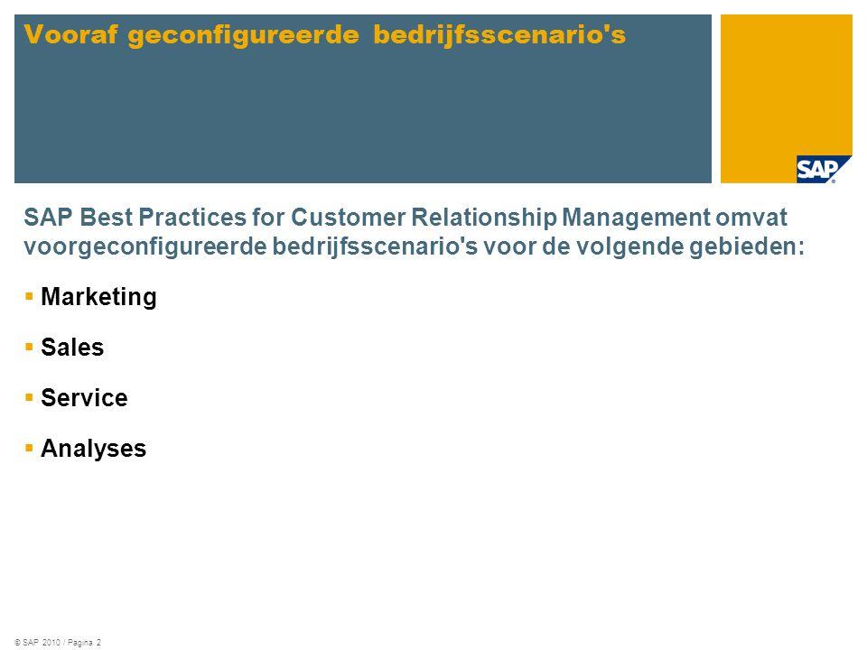 © SAP 2010 / Pagina 2 SAP Best Practices for Customer Relationship Management omvat voorgeconfigureerde bedrijfsscenario s voor de volgende gebieden:  Marketing  Sales  Service  Analyses Vooraf geconfigureerde bedrijfsscenario s