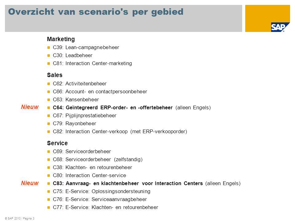 © SAP 2010 / Pagina 3 Overzicht van scenario s per gebied Marketing C39: Lean-campagnebeheer C30: Leadbeheer C81: Interaction Center-marketing Sales C62: Activiteitenbeheer C66: Account- en contactpersoonbeheer C63: Kansenbeheer C64: Geïntegreerd ERP-order- en -offertebeheer (alleen Engels) C67: Pijplijnprestatiebeheer C79: Rayonbeheer C82: Interaction Center-verkoop (met ERP-verkooporder) Service C69: Serviceorderbeheer C68: Serviceorderbeheer (zelfstandig) C38: Klachten- en retourenbeheer C80: Interaction Center-service C83: Aanvraag- en klachtenbeheer voor Interaction Centers (alleen Engels) C75: E-Service: Oplossingsondersteuning C76: E-Service: Serviceaanvraagbeheer C77: E-Service: Klachten- en retourenbeheer Nieuw