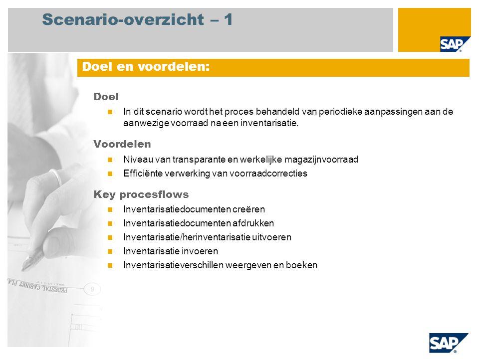 Scenario-overzicht – 1 Doel In dit scenario wordt het proces behandeld van periodieke aanpassingen aan de aanwezige voorraad na een inventarisatie. Vo