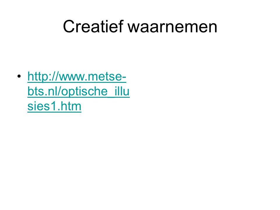 Creatief waarnemen http://www.metse- bts.nl/optische_illu sies1.htmhttp://www.metse- bts.nl/optische_illu sies1.htm