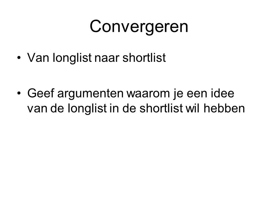 Convergeren Van longlist naar shortlist Geef argumenten waarom je een idee van de longlist in de shortlist wil hebben