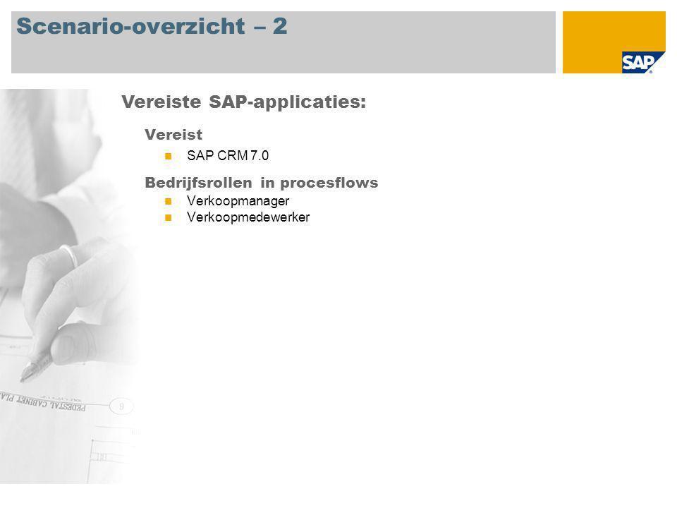 Scenario-overzicht – 2 Vereist SAP CRM 7.0 Bedrijfsrollen in procesflows Verkoopmanager Verkoopmedewerker Vereiste SAP-applicaties: