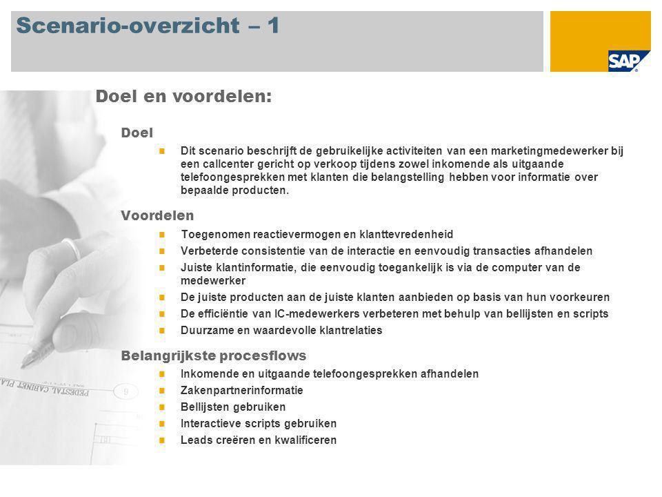 Scenario-overzicht – 2 Vereist SAP CRM 2007 Bedrijfsrollen in procesflows Interaction Center-marketingmedewerker Interaction Center-manager Vereiste SAP-applicaties: