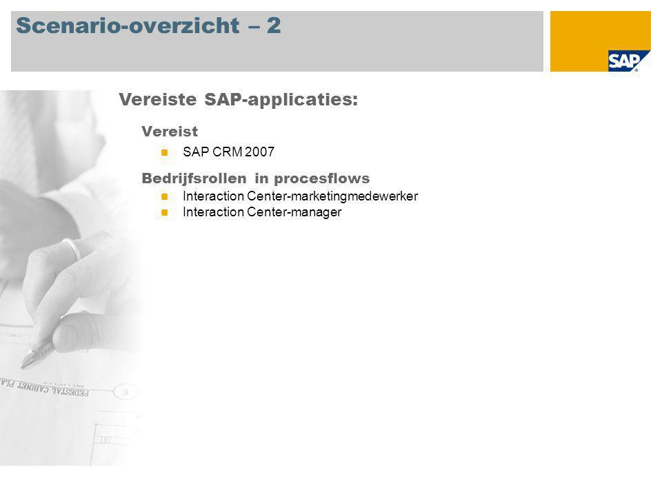 Scenario-overzicht – 2 Vereist SAP CRM 2007 Bedrijfsrollen in procesflows Interaction Center-marketingmedewerker Interaction Center-manager Vereiste SAP-applicaties: