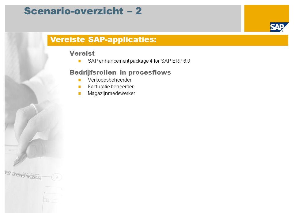Scenario-overzicht – 2 Vereist SAP enhancement package 4 for SAP ERP 6.0 Bedrijfsrollen in procesflows Verkoopsbeheerder Facturatie beheerder Magazijnmedewerker Vereiste SAP-applicaties: