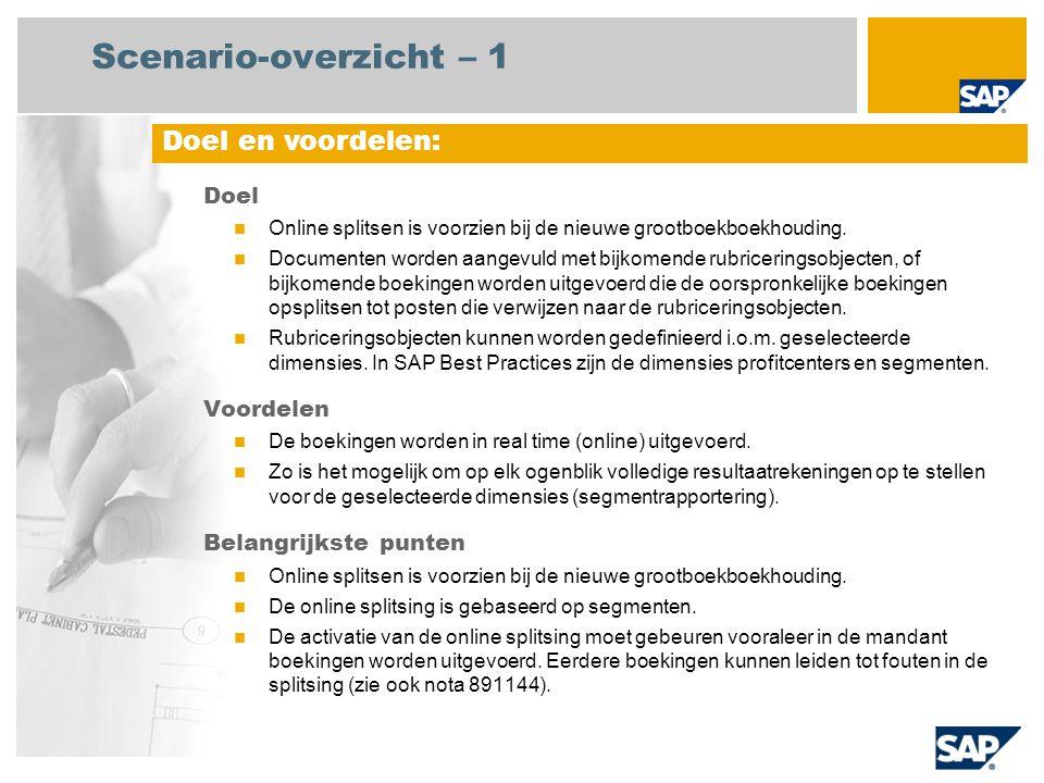Scenario-overzicht – 1 Doel Online splitsen is voorzien bij de nieuwe grootboekboekhouding.