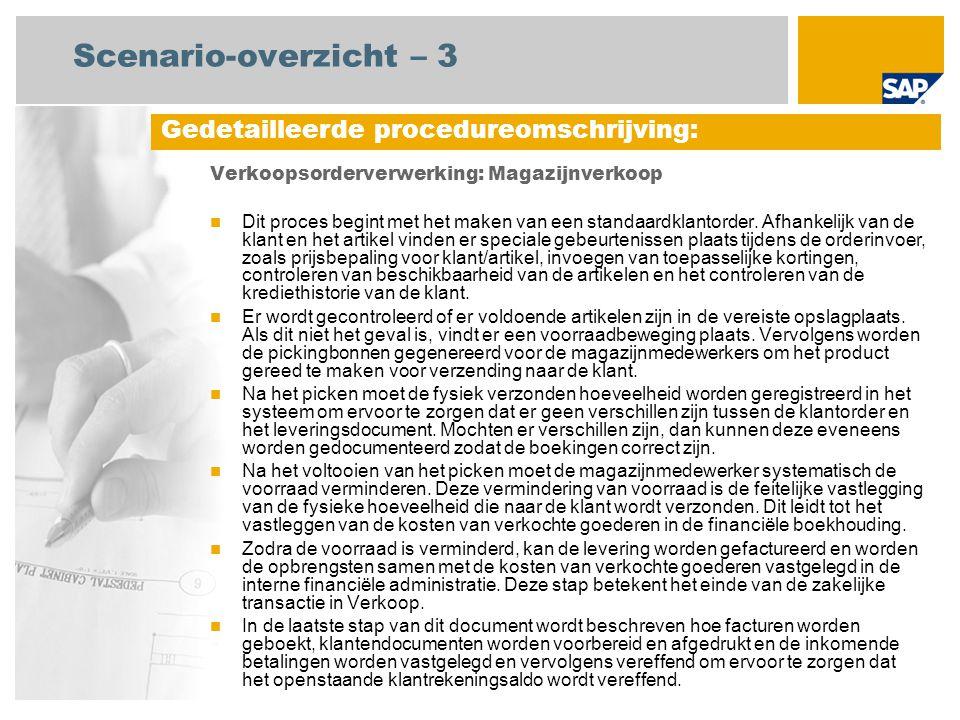 Scenario-overzicht – 3 Verkoopsorderverwerking: Magazijnverkoop Dit proces begint met het maken van een standaardklantorder.