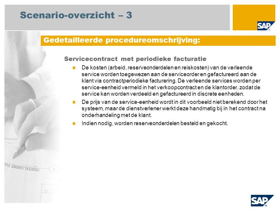 Scenario-overzicht – 3 Servicecontract met periodieke facturatie De kosten (arbeid, reserveonderdelen en reiskosten) van de verleende service worden t