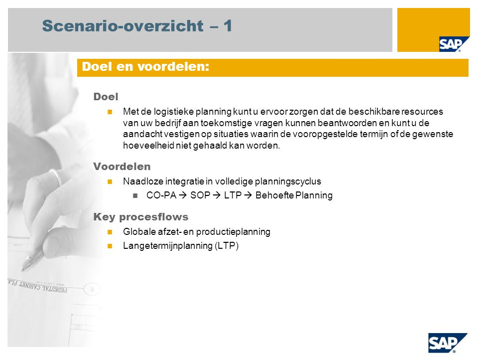 Scenario-overzicht – 2 Vereist SAP enhancement package 4 for SAP ERP 6.0 Bedrijfsrollen in procesflows Strategische planner Productieplanner Vereiste SAP-applicaties: