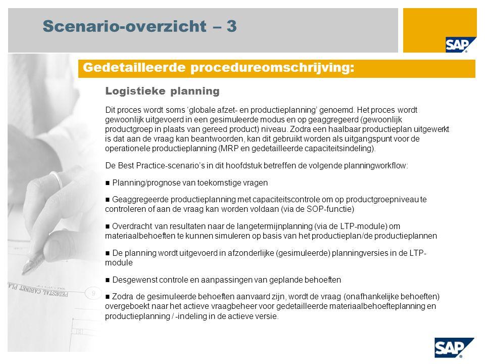 Scenario-overzicht – 3 Logistieke planning Dit proces wordt soms 'globale afzet- en productieplanning' genoemd. Het proces wordt gewoonlijk uitgevoerd