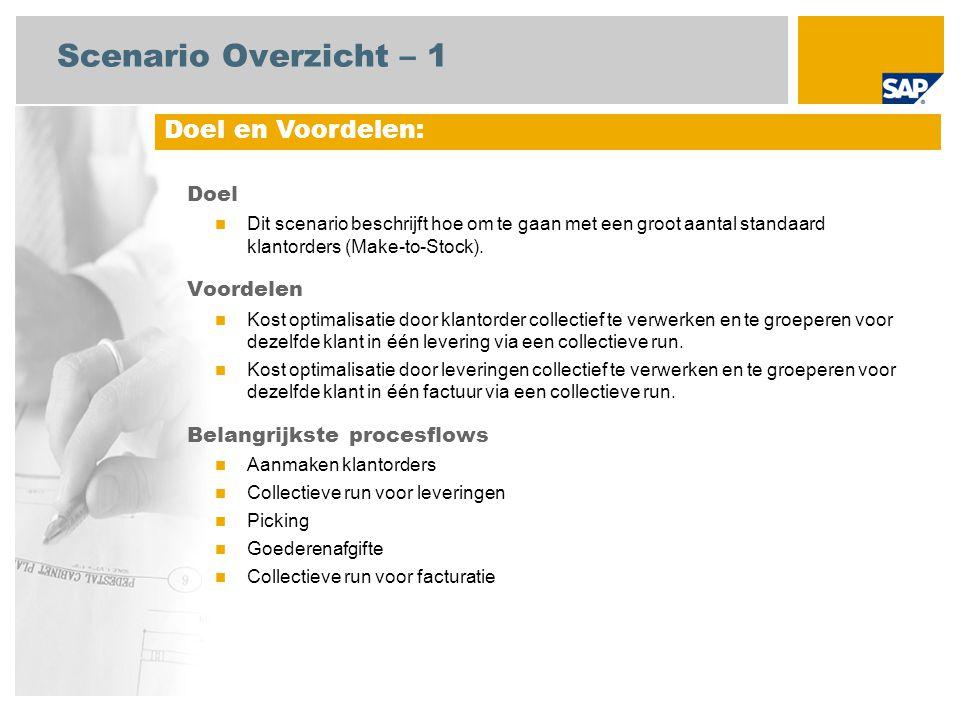 Scenario Overzicht – 2 Vereist SAP enhancement package 4 for SAP ERP 6.0 Bedrijfsrollen in procesflows Verkoopsbeheerder Magazijnmedewerker Facturatie beheerder Debiteurenadministratie Vereiste SAP Applicaties: