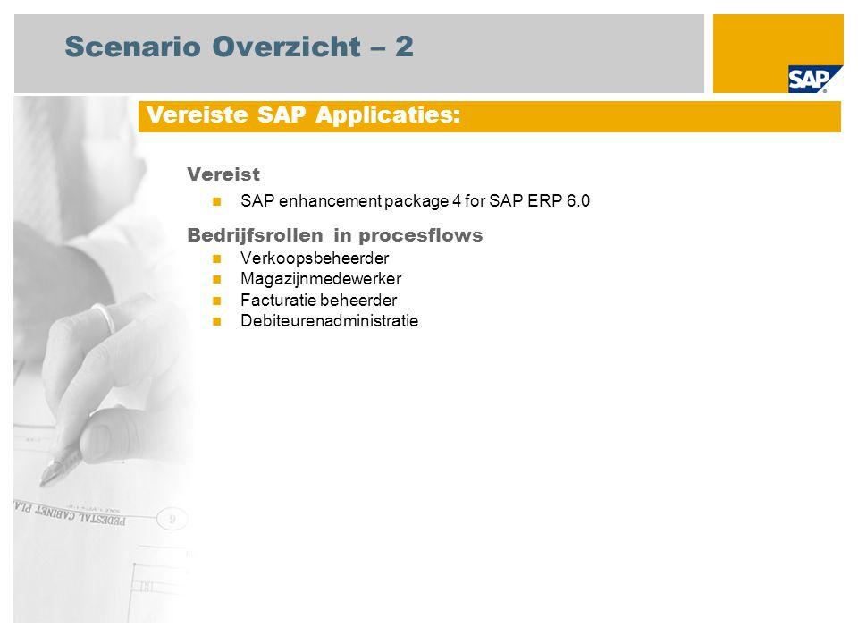 Scenario Overzicht – 2 Vereist SAP enhancement package 4 for SAP ERP 6.0 Bedrijfsrollen in procesflows Verkoopsbeheerder Magazijnmedewerker Facturatie