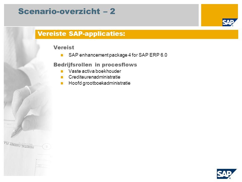 Scenario-overzicht – 2 Vereist SAP enhancement package 4 for SAP ERP 6.0 Bedrijfsrollen in procesflows Vaste activa boekhouder Crediteurenadministrati