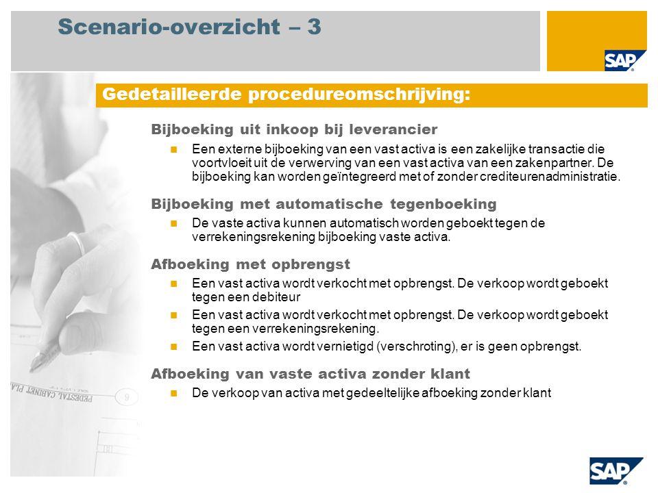 Scenario-overzicht – 3 Bijboeking uit inkoop bij leverancier Een externe bijboeking van een vast activa is een zakelijke transactie die voortvloeit ui