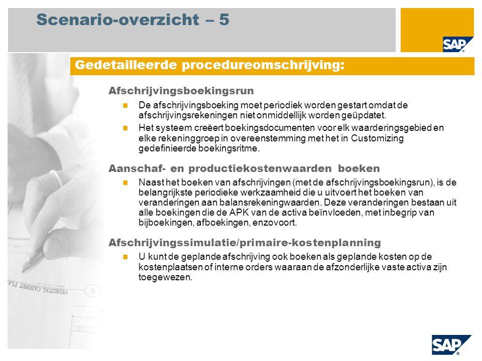 Scenario-overzicht – 5 Afschrijvingsboekingsrun De afschrijvingsboeking moet periodiek worden gestart omdat de afschrijvingsrekeningen niet onmiddelli