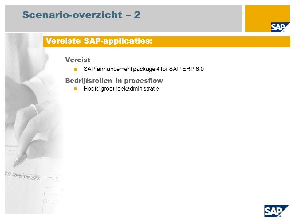Scenario-overzicht – 2 Vereist SAP enhancement package 4 for SAP ERP 6.0 Bedrijfsrollen in procesflow Hoofd grootboekadministratie Vereiste SAP-applic