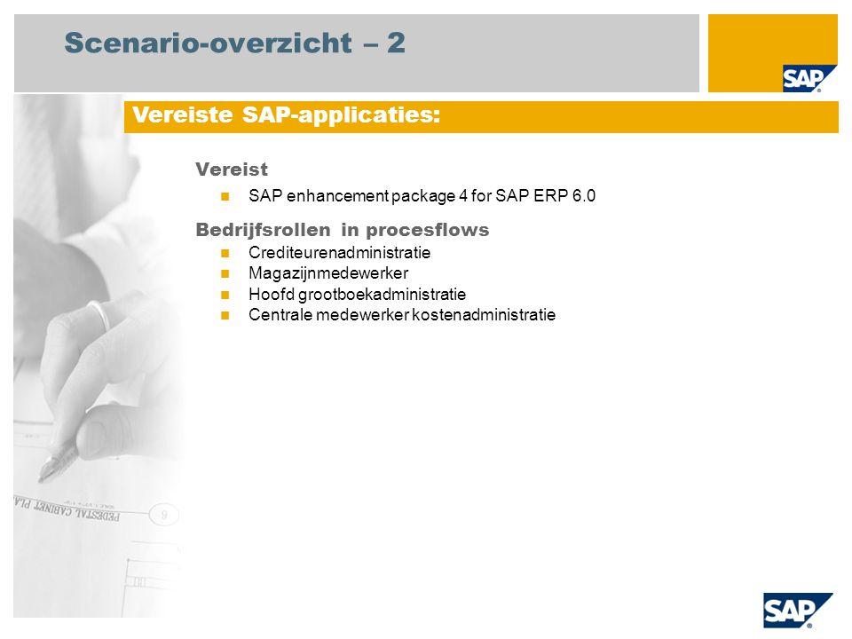 Scenario-overzicht – 2 Vereist SAP enhancement package 4 for SAP ERP 6.0 Bedrijfsrollen in procesflows Crediteurenadministratie Magazijnmedewerker Hoofd grootboekadministratie Centrale medewerker kostenadministratie Vereiste SAP-applicaties: