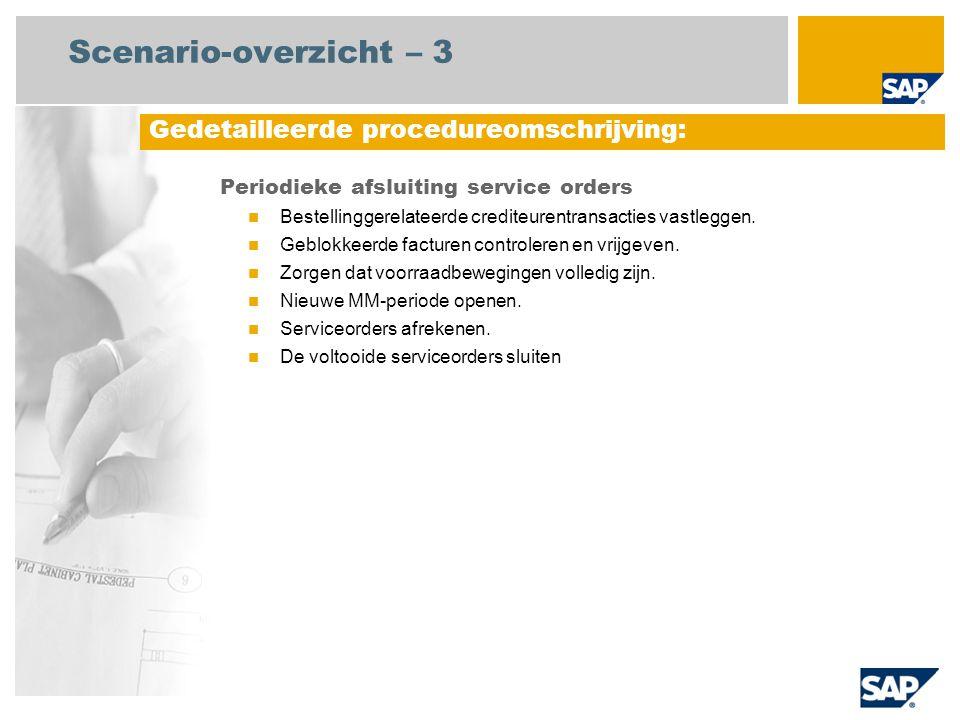 Scenario-overzicht – 3 Periodieke afsluiting service orders Bestellinggerelateerde crediteurentransacties vastleggen. Geblokkeerde facturen controlere