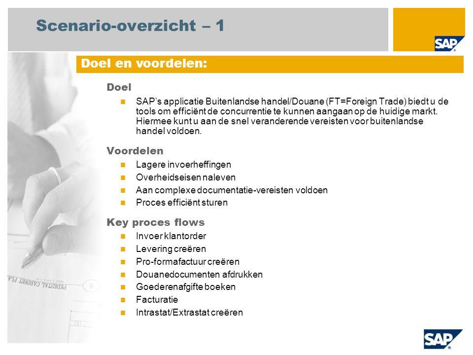 Scenario-overzicht – 1 Doel SAP's applicatie Buitenlandse handel/Douane (FT=Foreign Trade) biedt u de tools om efficiënt de concurrentie te kunnen aan