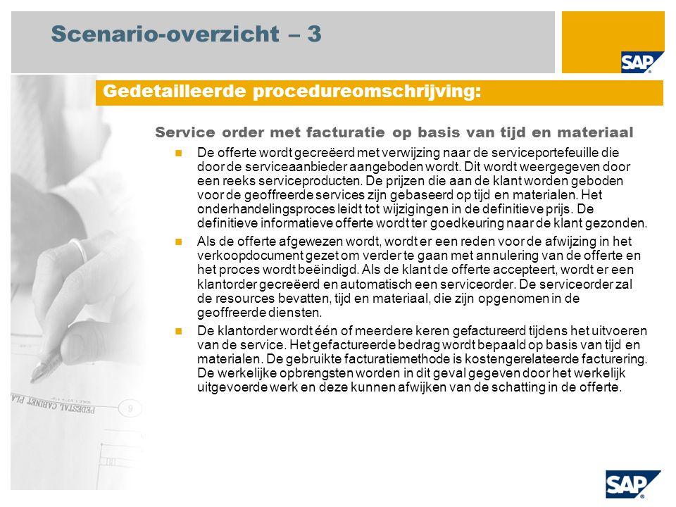 Scenario-overzicht – 3 Service order met facturatie op basis van tijd en materiaal De offerte wordt gecreëerd met verwijzing naar de serviceportefeuil