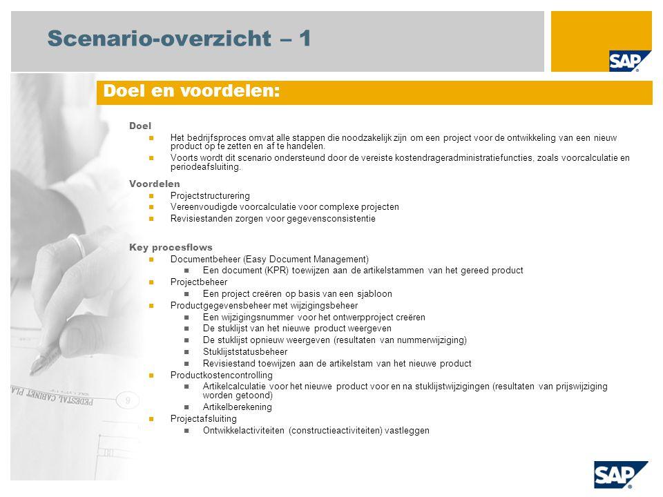 Scenario-overzicht – 2 Vereist SAP enhancement package 4 for SAP ERP 6.0 Bedrijfsrollen in procesflows Project manager Constructie Medewerker (professionele gebruiker) Centrale medewerker kostenadministratie Vereiste SAP-applicaties: