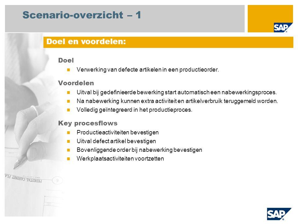 Scenario-overzicht – 1 Doel Verwerking van defecte artikelen in een productieorder.