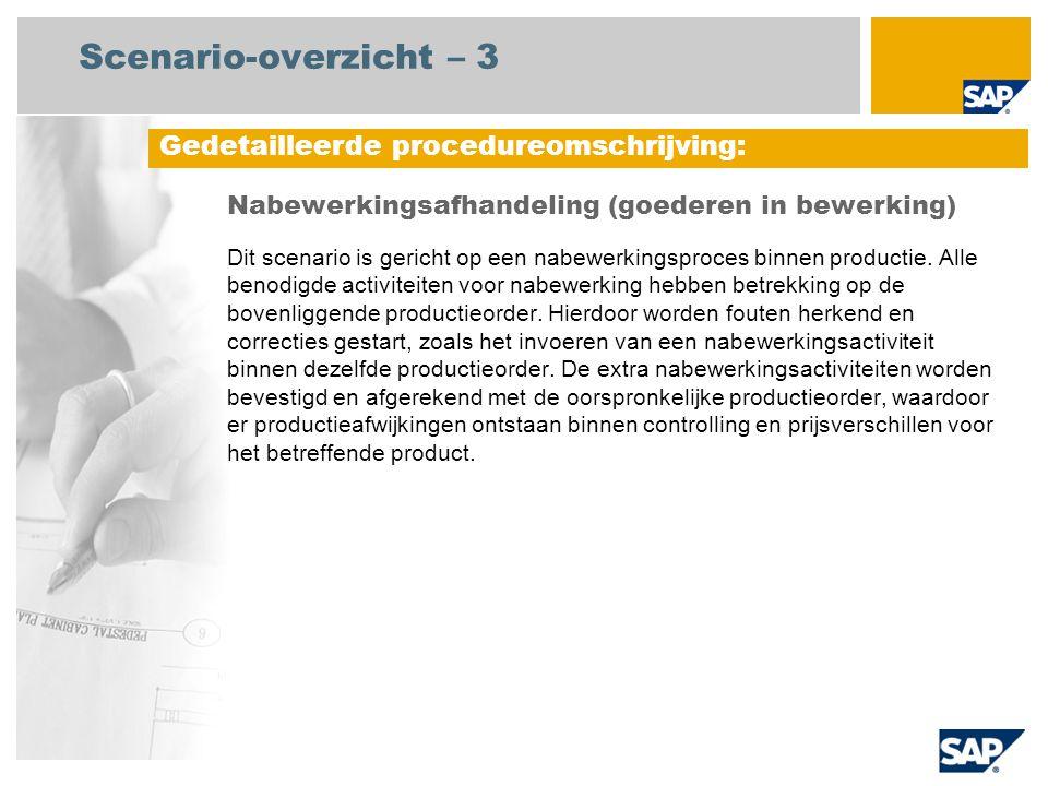 Scenario-overzicht – 3 Nabewerkingsafhandeling (goederen in bewerking) Dit scenario is gericht op een nabewerkingsproces binnen productie.