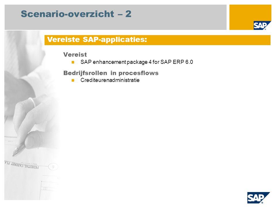 Scenario-overzicht – 2 Vereist SAP enhancement package 4 for SAP ERP 6.0 Bedrijfsrollen in procesflows Crediteurenadministratie Vereiste SAP-applicati
