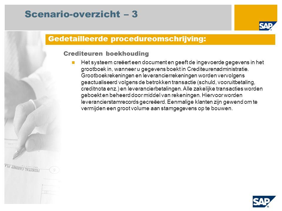 Scenario-overzicht – 3 Crediteuren boekhouding Het systeem creëert een document en geeft de ingevoerde gegevens in het grootboek in, wanneer u gegeven