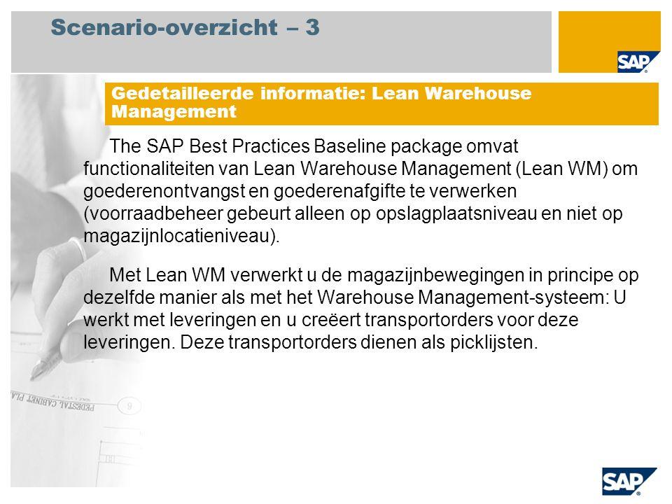 Scenario-overzicht – 3 The SAP Best Practices Baseline package omvat functionaliteiten van Lean Warehouse Management (Lean WM) om goederenontvangst en