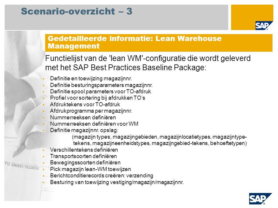 Scenario-overzicht – 3 Functielijst van de 'lean WM'-configuratie die wordt geleverd met het SAP Best Practices Baseline Package: Gedetailleerde infor