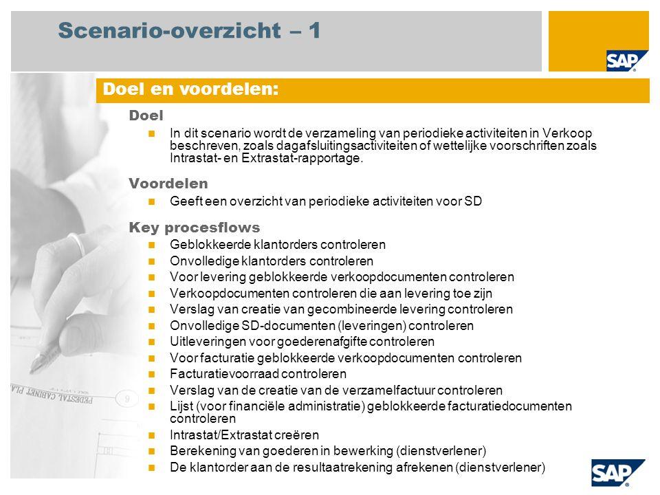 Scenario-overzicht – 2 Vereist SAP enhancement package 4 for SAP ERP 6.0 Bedrijfsrollen in procesflows Facturatie beheerder Verkoop manager Magazijnmedewerker Verkoopsbeheerder Magazijnmanager Hoofd debiteurenadminstratie Douaneagent Productkostencontroller Vereiste SAP-applicaties: