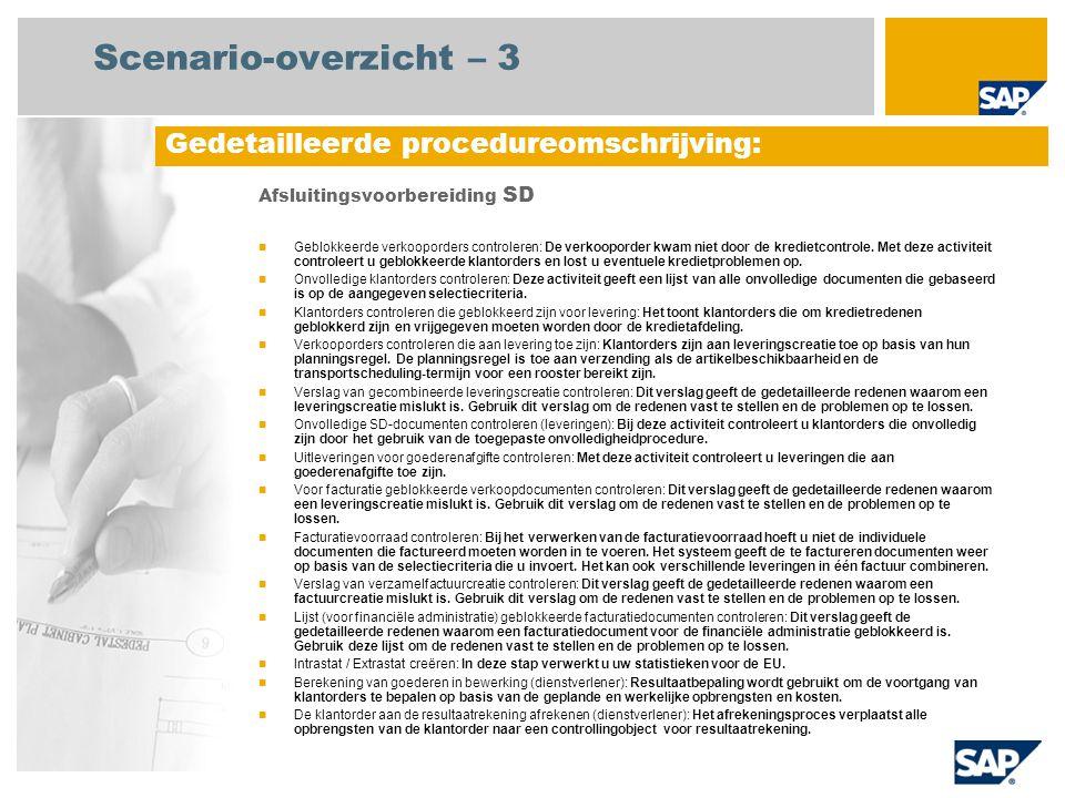 Scenario-overzicht – 3 Afsluitingsvoorbereiding SD Geblokkeerde verkooporders controleren: De verkooporder kwam niet door de kredietcontrole. Met deze