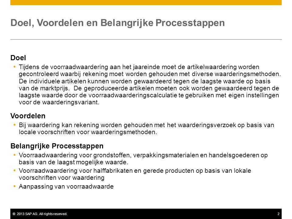 ©2013 SAP AG. All rights reserved.2 Doel, Voordelen en Belangrijke Processtappen Doel  Tijdens de voorraadwaardering aan het jaareinde moet de artike