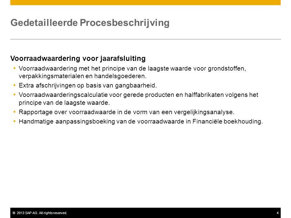 ©2013 SAP AG. All rights reserved.4 Gedetailleerde Procesbeschrijving Voorraadwaardering voor jaarafsluiting  Voorraadwaardering met het principe van