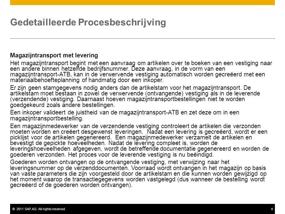 ©2011 SAP AG. All rights reserved.4 Gedetailleerde Procesbeschrijving Magazijntransport met levering Het magazijntransport begint met een aanvraag om